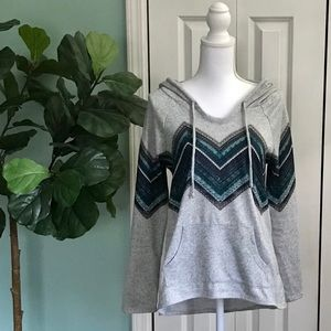 Grey, Blue, Green, Chevron Hoody